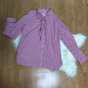 Vineyard Vines Ruffle Shirt red white size 16